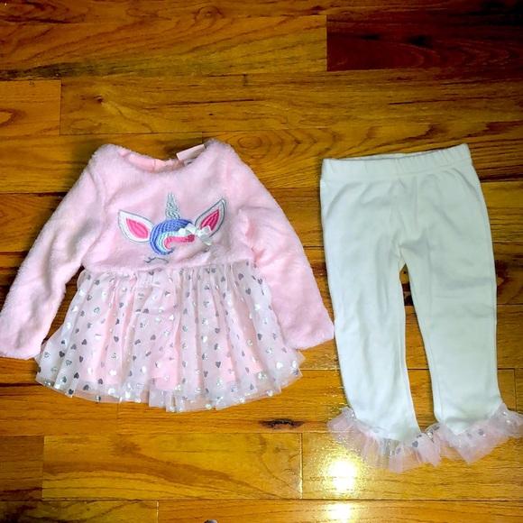Little Lass UNICORN Girls 2pc Pant Set Baby 24 M